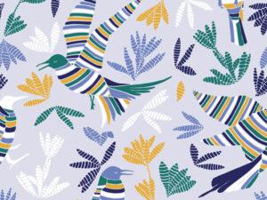 Papier Peint Ressource, Collection Forestine, Motif La Ronde des Oiseaux Variation LRD02